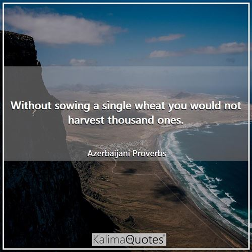 Without sowing a single wheat you would not harvest thousand ones.