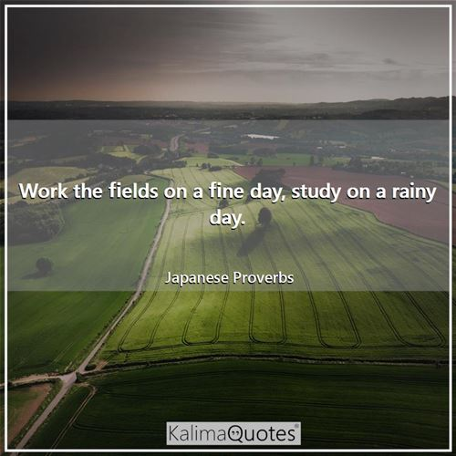 Work the fields on a fine day, study on a rainy day. - Japanese Proverbs