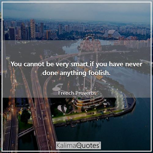 You cannot be very smart if you have never done anything foolish.