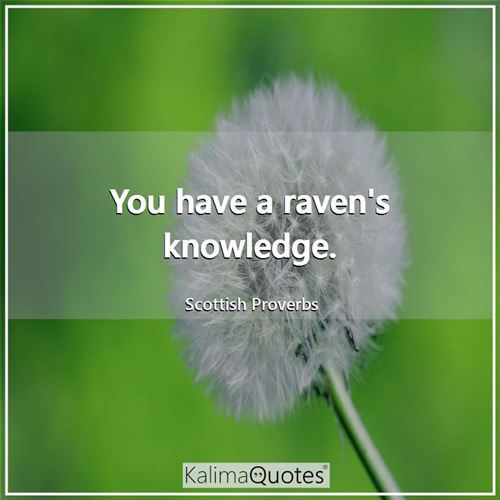 You have a raven's knowledge.