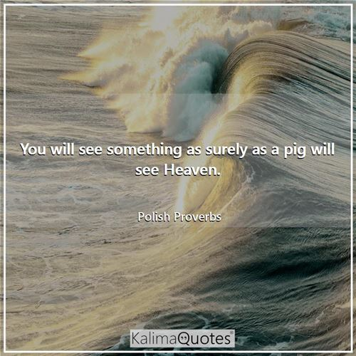You will see something as surely as a pig will see Heaven.