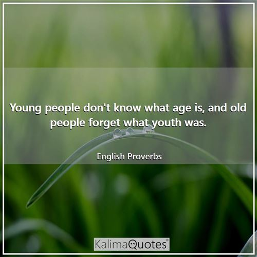 Young people don't know what age is, and old people forget what youth was.