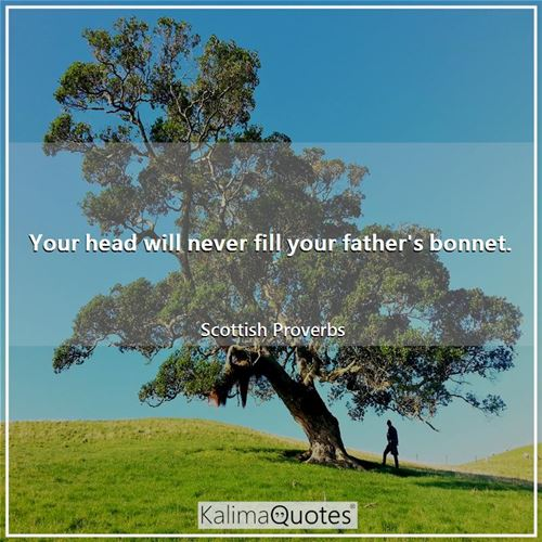 Your head will never fill your father's bonnet.