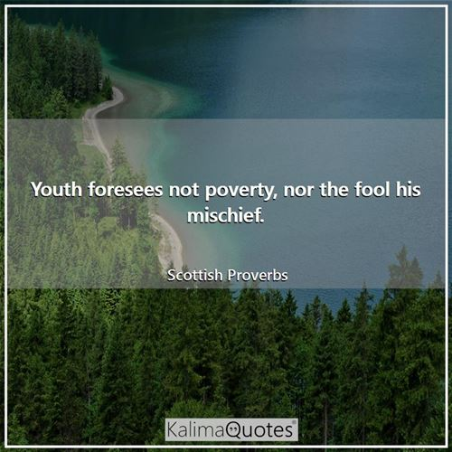 Youth foresees not poverty, nor the fool his mischief.