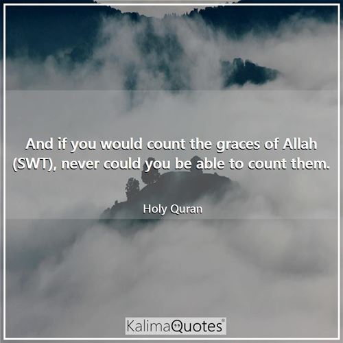 And if you would count the graces of Allah (SWT), never could you be able to count them.
