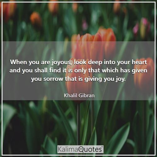 When you are joyous, look deep into your heart and you shall find it is only that which has given you sorrow that is giving you joy.