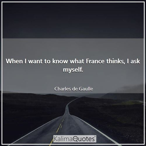 When I want to know what France thinks, I ask myself.