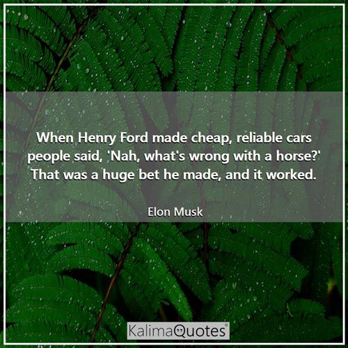 When Henry Ford made cheap, reliable cars people said, 'Nah, what's wrong with a horse?' That was a  - Elon Musk