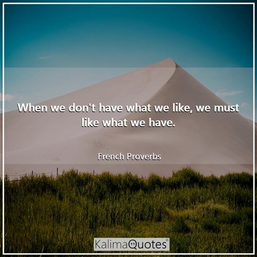 When we don't have what we like, we must like what we have.