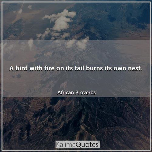 A bird with fire on its tail burns its own nest.