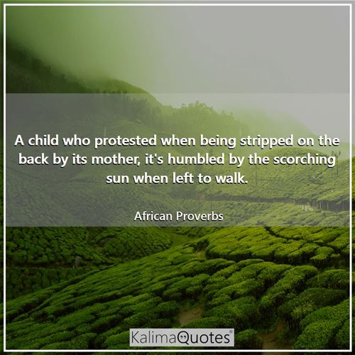 A child who protested when being stripped on the back by its mother, it's humbled by the scorching s - African Proverbs
