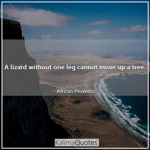 A lizard without one leg cannot move up a tree. - African Proverbs