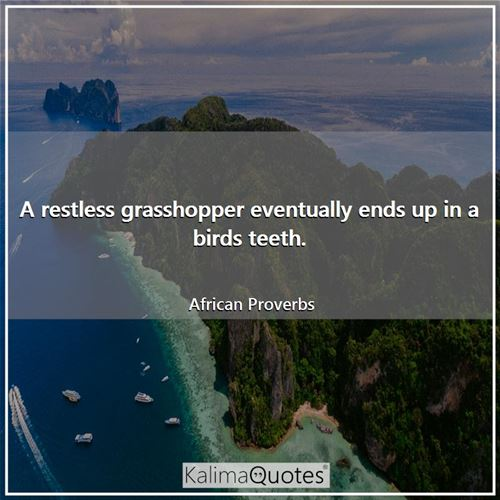 A restless grasshopper eventually ends up in a birds teeth. - African Proverbs