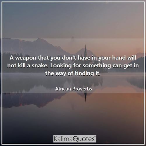 A weapon that you don't have in your hand will not kill a snake. Looking for something can get in th - African Proverbs