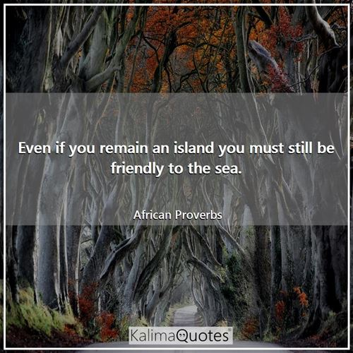 Even if you remain an island you must still be friendly to the sea. - African Proverbs