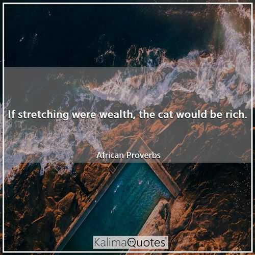 If stretching were wealth, the cat would be rich. - African Proverbs