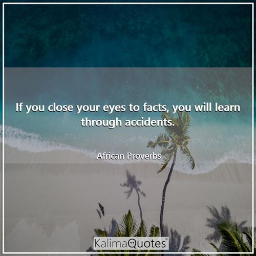 If you close your eyes to facts, you will learn through accidents. - African Proverbs