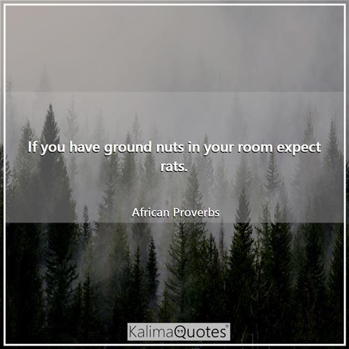 If you have ground nuts in your room expect rats. - African Proverbs