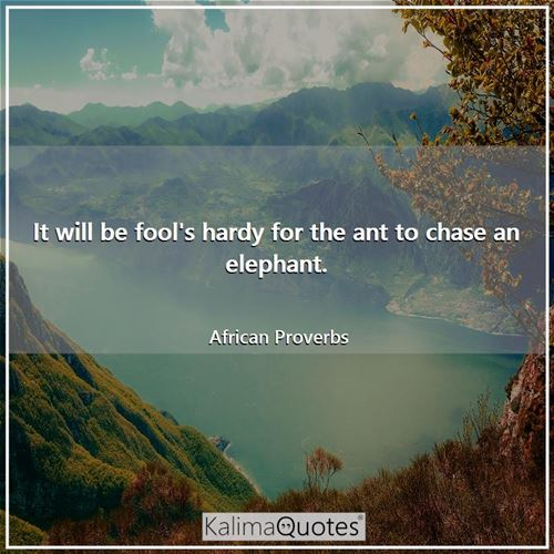 It will be fool's hardy for the ant to chase an elephant.