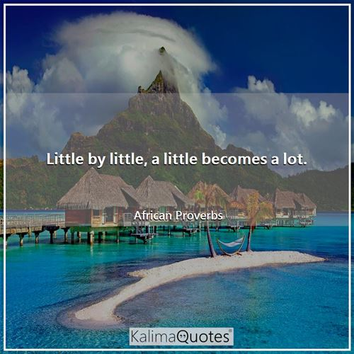 Little by little, a little becomes a lot.