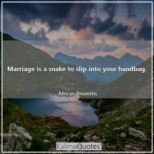 Marriage is a snake to slip into your handbag. - African Proverbs
