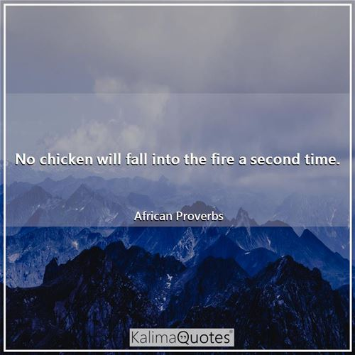 No chicken will fall into the fire a second time.