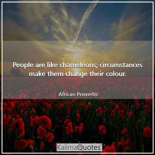People are like chameleons; circumstances make them change their colour. - African Proverbs