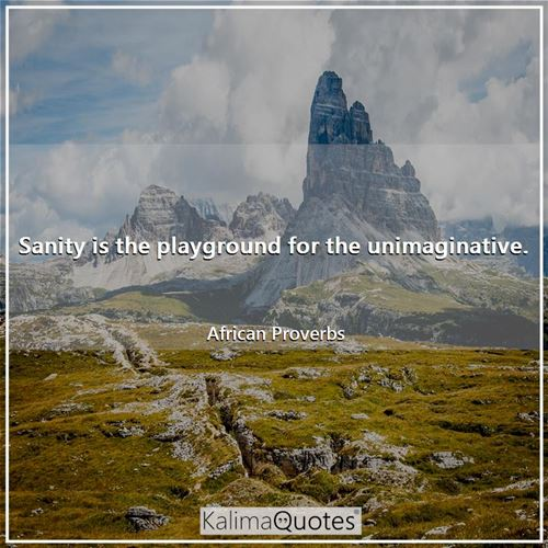 Sanity is the playground for the unimaginative. - African Proverbs