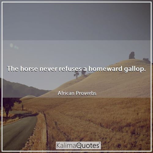 The horse never refuses a homeward gallop. - African Proverbs