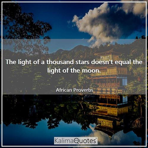 The light of a thousand stars doesn't equal the light of the moon. - African Proverbs