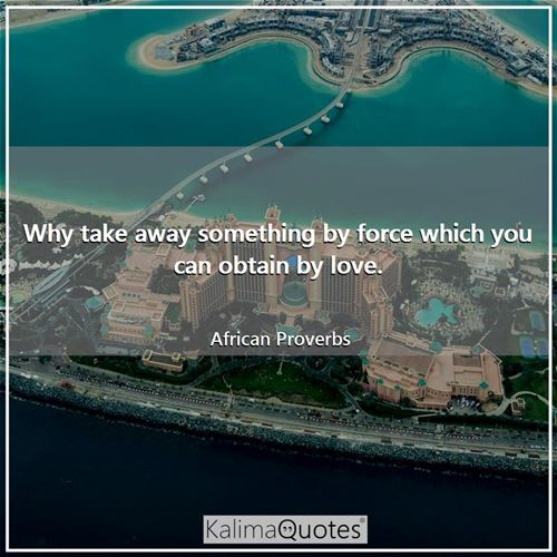 Why take away something by force which you can obtain by love. - African Proverbs