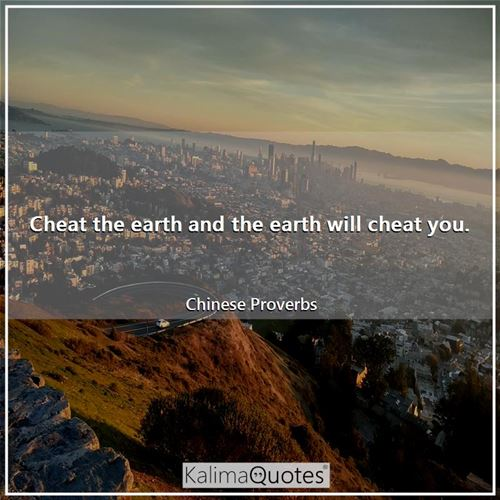 Cheat the earth and the earth will cheat you.