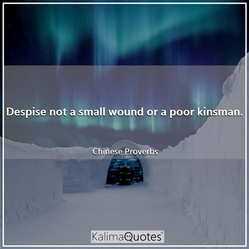 Despise not a small wound or a poor kinsman. - Chinese Proverbs