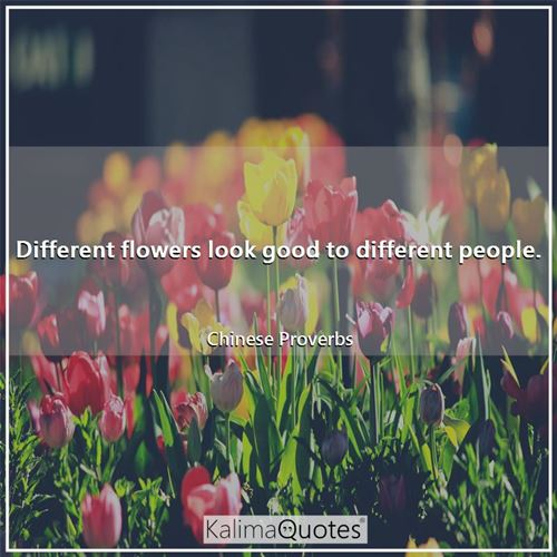 Different flowers look good to different people. - Chinese Proverbs