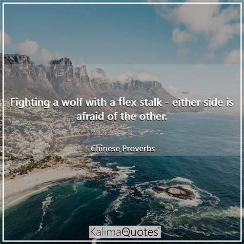 Fighting a wolf with a flex stalk - either side is afraid of the other. - Chinese Proverbs
