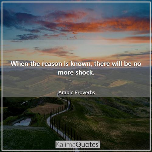 When the reason is known, there will be no more shock. - Arabic Proverbs