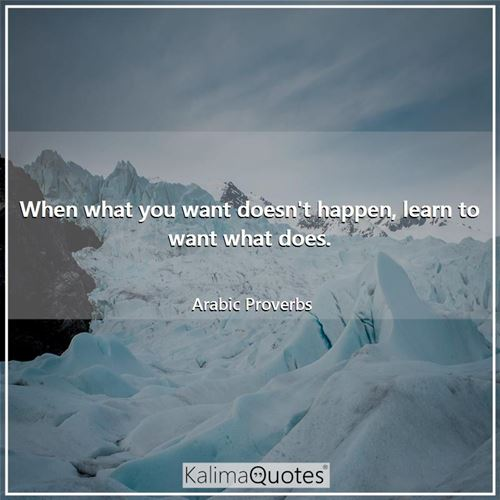 When what you want doesn't happen, learn to want what does. - Arabic Proverbs