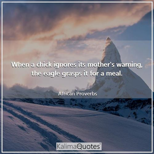 When a chick ignores its mother's warning, the eagle grasps it for a meal. - African Proverbs