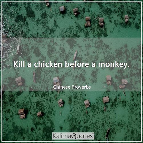 Kill a chicken before a monkey. - Chinese Proverbs