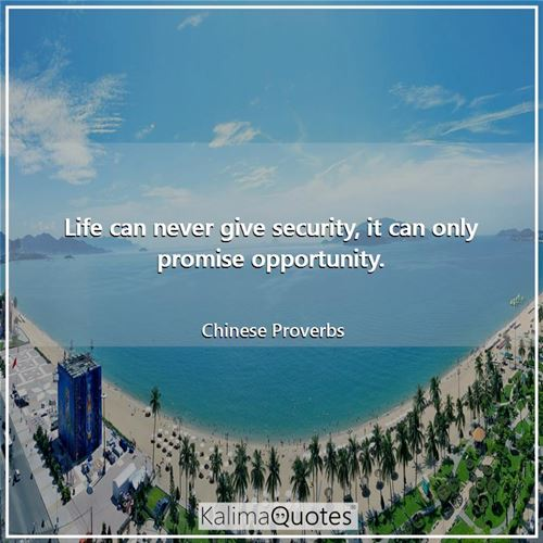 Life can never give security, it can only promise opportunity.