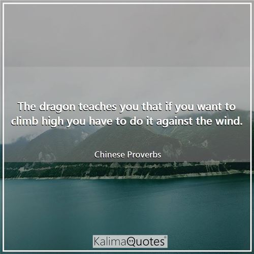 The dragon teaches you that if you want to climb high you have to do it against the wind.