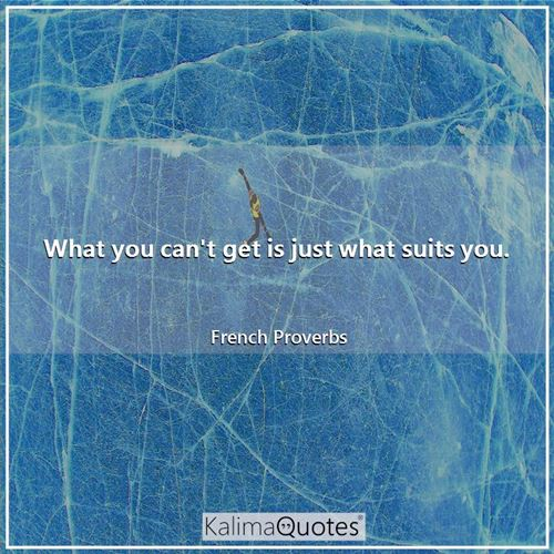 What you can't get is just what suits you. - French Proverbs